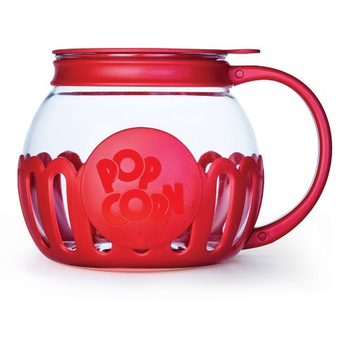 ecolution kit extras glass popcorn popper with protective holder and multi functional lid red