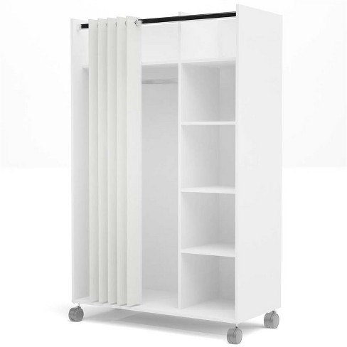 Wood 4 Cubby Mobile Curtain Storage Unit in White and Natural-Atlin Designs - image 1 of 3