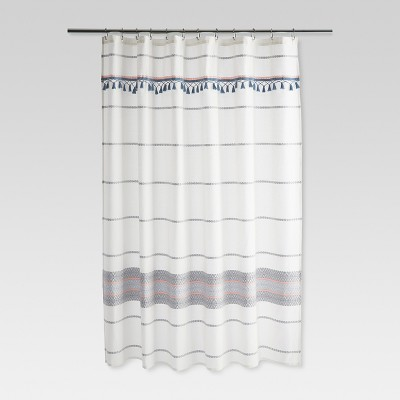 Woven Multi Striped Shower Curtain Blue /Gray - Threshold™