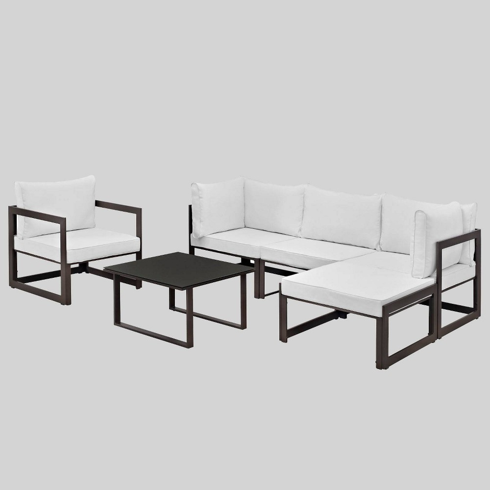 Fortuna 6pc Outdoor Patio Sectional Sofa Set - White - Modway