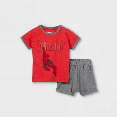 Toddler Boys' Amazing Spider-Man Short Sleeve French Terry Top and Bottom Set - Red