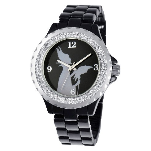 Women's Disney® Maleficent Enamel Spark Watch - Black - image 1 of 2