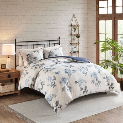 Benita 3pc Printed Seersucker Duvet Cover Set Blue