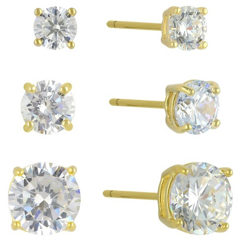 Cubic Zirconia Set of 3 Round Stud Earrings with 14k Gold Plating in Sterling Silver - Gold - image 1 of 1