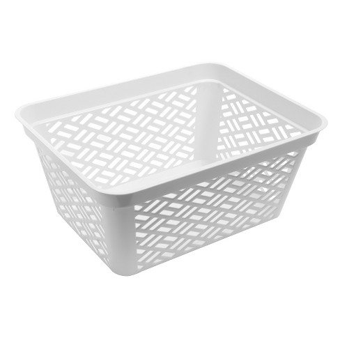 Ezy Storage Large Decorative Plastic Brickor Shelf Pantry Basket Bin White