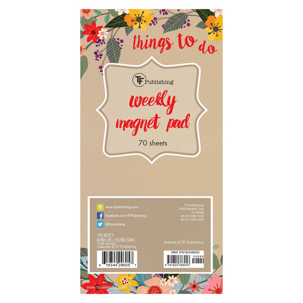 TF Publishing Secret Garden Magnetic List Pad, 70 Pgs, (8  x 4 ), Multi-Colored Add floral touch to your home décor with the TF Publishing Secret Garden Magnetic List Pad. Keep track of all your  things to do  with this unlined pad! Jot down your weekly schedule or daily to-dos, then tear it off and start anew. The magnetic pad is perfect for filing cabinets, refrigerators or any other magnetic surface. The pad has 70 tear-off sheets for you to track all your appointments and to dos. Color: Multi-Colored.