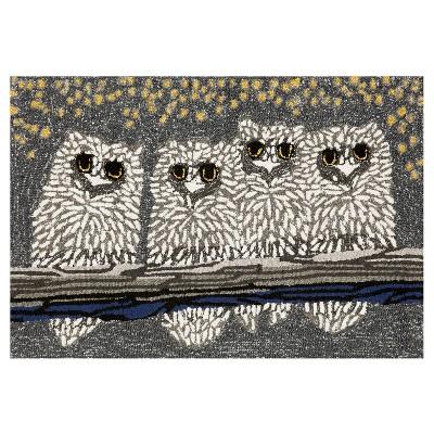 Frontporch Indoor/Outdoor Owls Night Rug 20 X30  Gray - Liora Manne