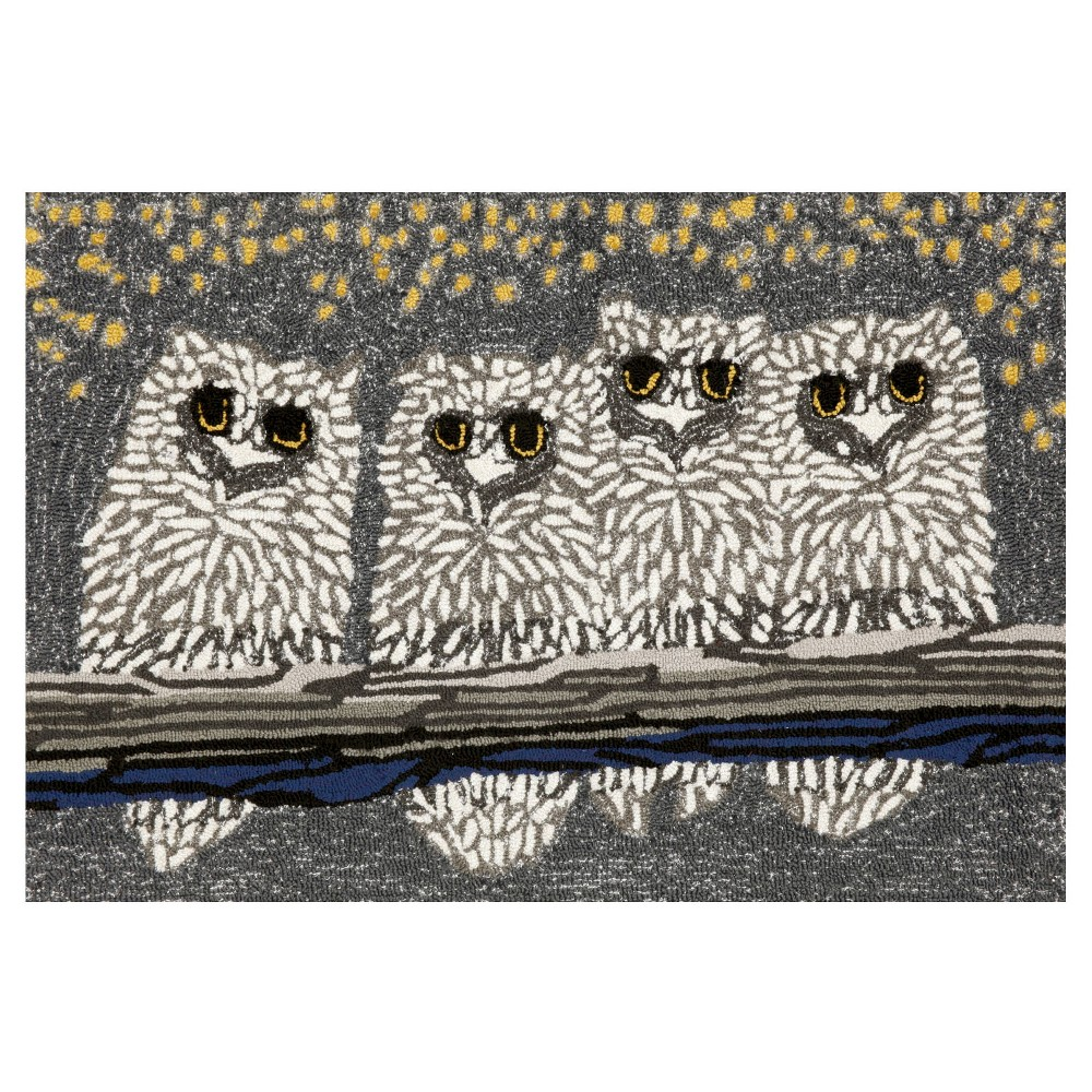 """Image of """"Frontporch Indoor/Outdoor Owls Night Rug 24""""""""X36"""""""" Gray - Liora Manne, Size: 2'X3'"""""""