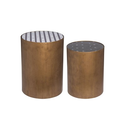 Set of 2 Patterned Brass Metal Side End Tables - Foreside Home and Garden