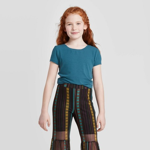 Girls' Short Sleeve Ribbed Top - art class™ - image 1 of 3