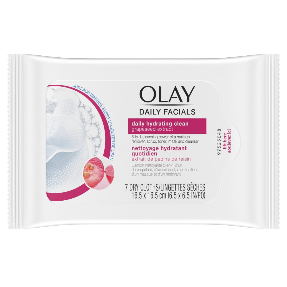 Olay Daily Facial Hydrating Cleansing Cloths with Grapeseed Extract, Makeup Remover - 7ct