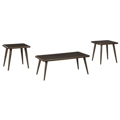 3pc Fazani Coffee and End Table Set Dark Brown - Signature Design by Ashley