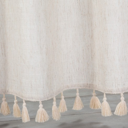 Solid Crochet With Tassels Shower Curtain White