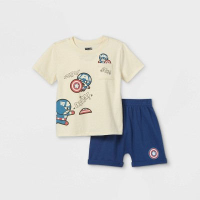 Toddler Boys' Captain America Short Sleeve French Terry Top and Bottom Set - Cream 12M