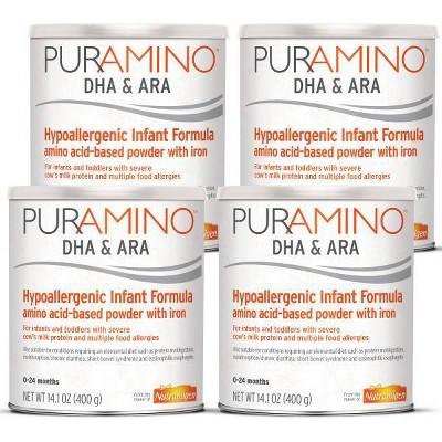 Enfamil PurAmino DHA and ARA Hypoallergenic Powder with Iron Formula - 4ct/14.1oz Each
