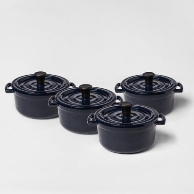 .25qt 4pc Round Casserole Bakeware Set Navy - Threshold™