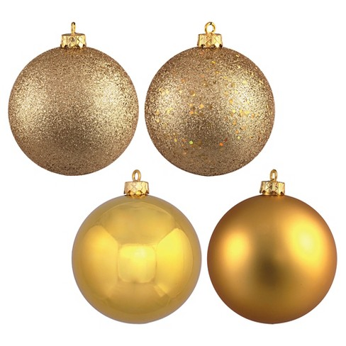 4ct Gold Assorted Finishes Ball Shatterproof Christmas Ornament Set - image 1 of 1