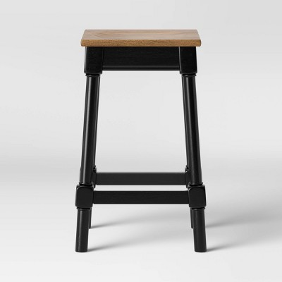 Salem Farmhouse Square Counter Stool Black - Threshold™