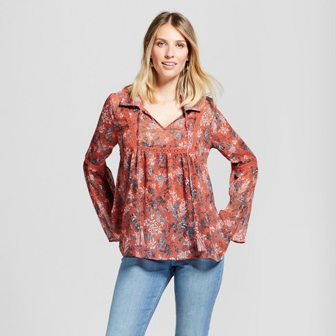 Women's Collared Sheer Print Top with Cami - Knox Rose™ - image 1 of 2