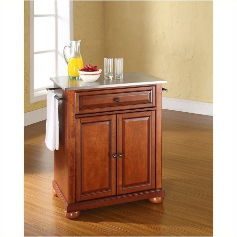 Wood Stainless Steel Top Kitchen Island in Cherry Brown- Pemberly Row