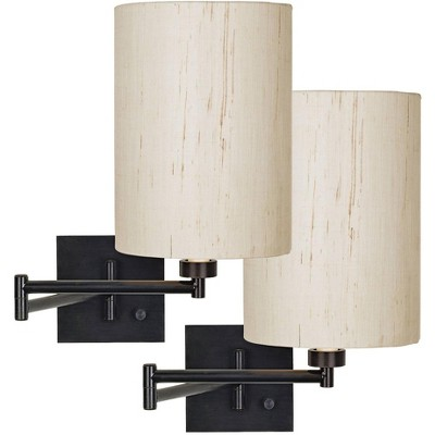 Franklin Iron Works Modern Swing Arm Wall Lamps Set of 2 Espresso Bronze Plug-In Light Fixture Ivory Linen Cylinder Shade Bedroom