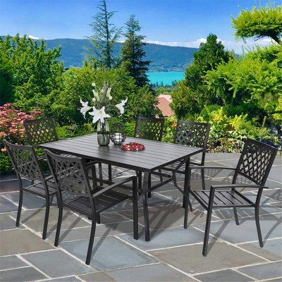 7pc Outdoor Rectangular Table & 6 Chairs with Grid Design - Black - Captiva Designs