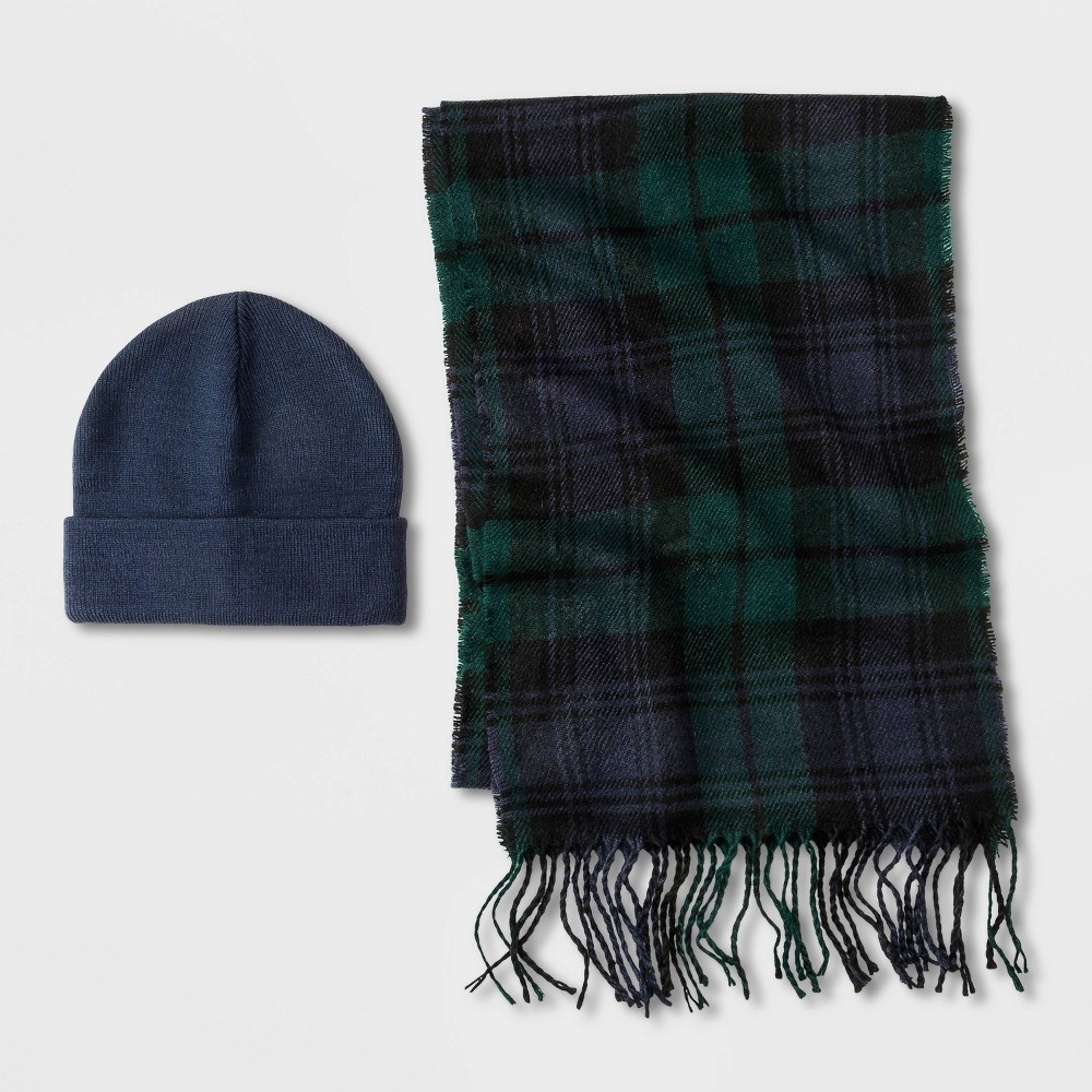 Image of Men's Classic Tartan Scarf + Beanie Set - Goodfellow & Co Navy/Blue Plaid One Size, Men's, Blue/Blue