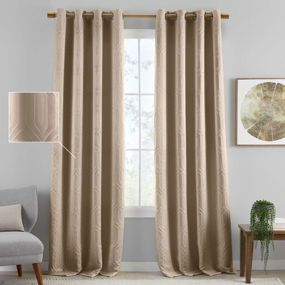 Huxley Geometric Blackout Embroidered Textured Window Curtain Panel - Elrene Home Fashions