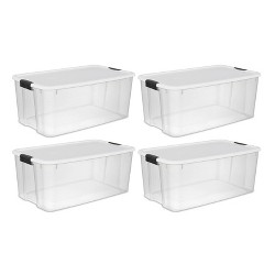 Sterilite Large 116  Qt. Clear Ultra Latch Storage Container Box Tote (4 Pack)