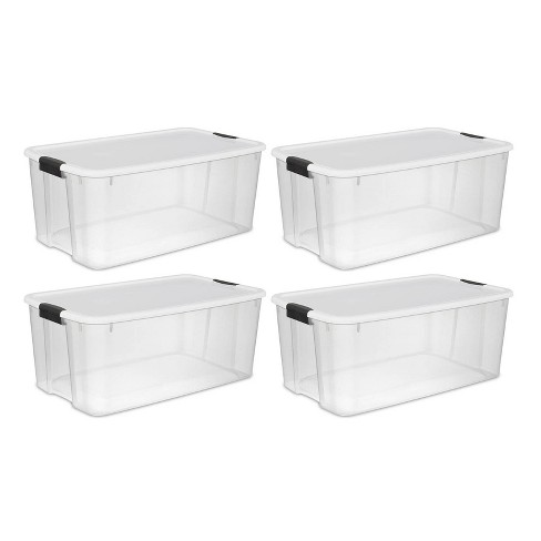 Sterilite 116 Quart Ultra Latching Clear Plastic Storage Tote Container 4 Pack Target