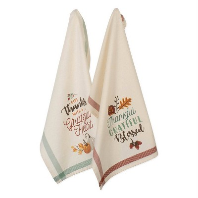 2pk Assorted Grateful Fall Printed Dishtowels Beige - Design Imports
