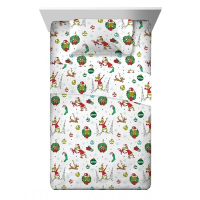 Twin The Grinch Flannel Sheet