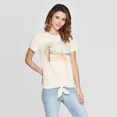 Women's Short Sleeve Sailboat T Shirt   Zoe+Liv (Juniors')   White by Shirt