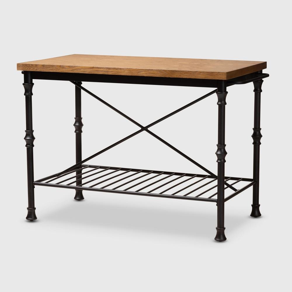 Perin Wood Finished Steel Multipurpose Kitchen Island Table Brown/Bronze - BaxtonStudio