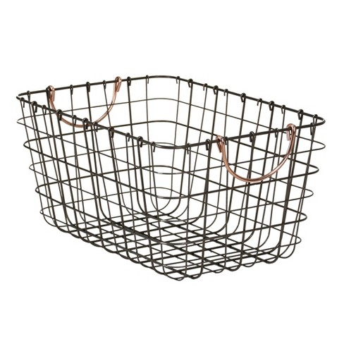 "Wire Basket With Gray Finish And Copper Handle 16""X11""X8"" - Threshold™ - image 1 of 1"