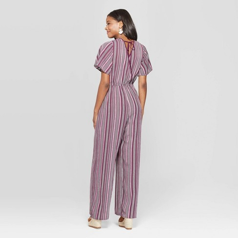 cf1e7807b87 Women s Striped Short Sleeve Deep V-Neck Wrap Jumpsuit - Xhilaration™ Wine
