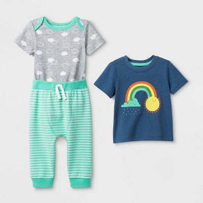 Baby 3pc Cardigan Rainbow Top & Bottom Set - Cat & Jack™ Blue/Gray/Green 0-3M