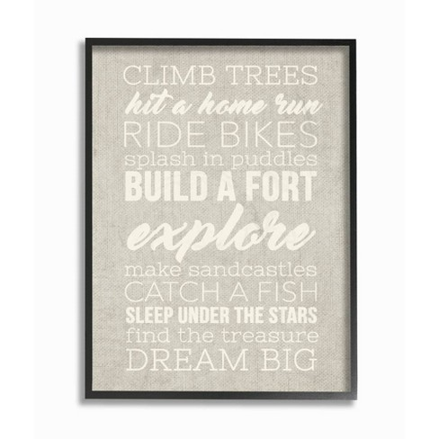 """16""""x1.5""""x20"""" Climb Trees Dream Big White with Tan Oversized Framed Giclee Texturized Art - Stupell Industries - image 1 of 1"""