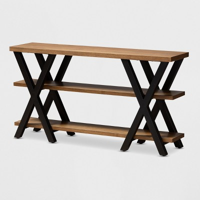 Duchaine Wood Finished Metal Console Table Bronze - BaxtonStudio