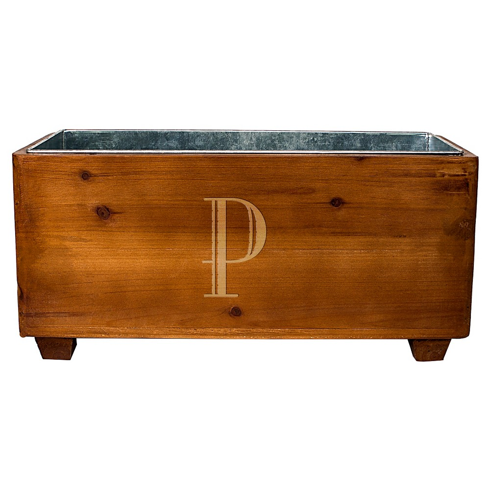 Cathy's Concepts Personalized Wooden Wine Trough - P, Brown