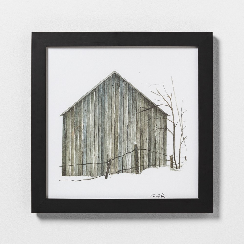 """Image of """"16"""""""" X 16"""""""" Sketched Barn Wall Art with Black Wood Frame - Hearth & Hand with Magnolia, Natural Wood"""""""