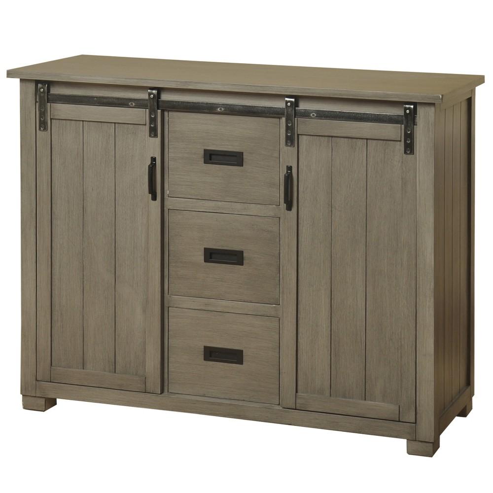 Barn Door Media Cabinet Gray - Stylecraft