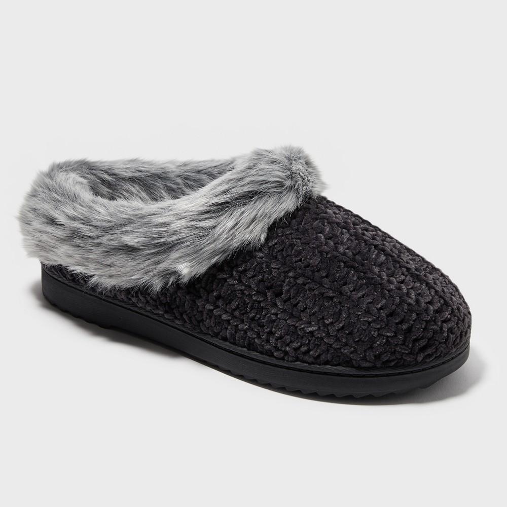 Women's Dearfoams Slide Slippers - Midnight Black L