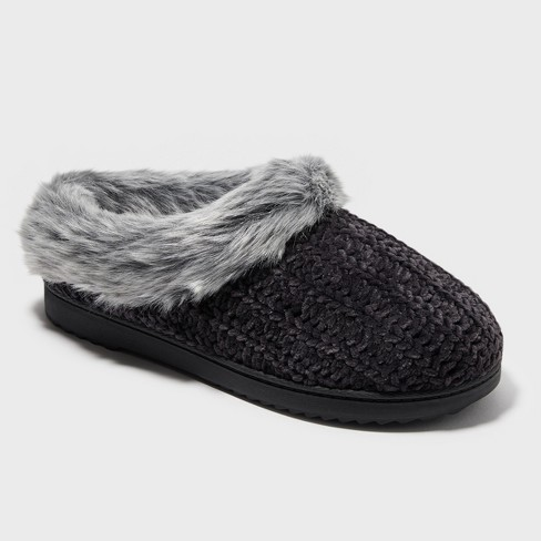 64777c49b04b Women s Dearfoams Slide Slippers - Midnight Black L   Target