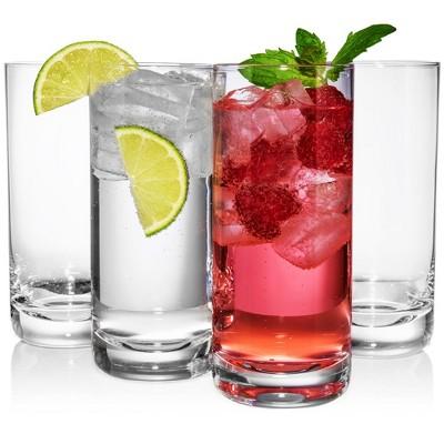 JoyJolt Stella Lead Free Crystal Highball Glasses-Set of 4 Barware Collins Tumbler Cocktail 14.2 oz