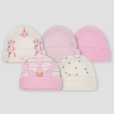 Gerber® Baby Girls' 5pk Caps Princess - Pink/Cream 0/6M