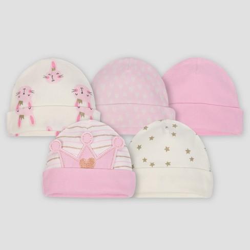 912fd2f8c Gerber® Baby Girls' 5pk Caps Princess - Pink/Cream 0/6M