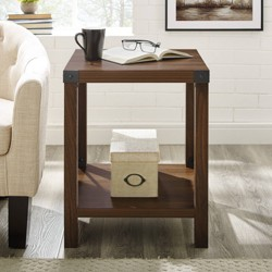 "18"" Rustic Farmhouse Metal X Frame Side Table with Wood and Metal - Saracina Home"