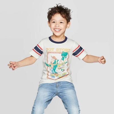 Toddler Boys' Classic Toy Story Ringer Short Sleeve T-Shirt - Ivory 12M