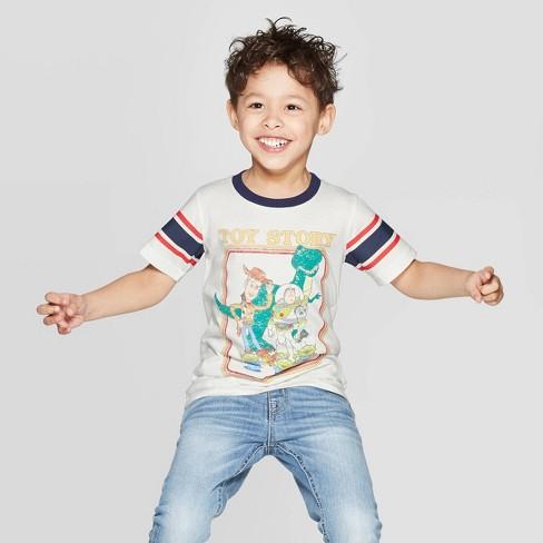 Toddler Boys' Classic Toy Story Ringer Short Sleeve T-Shirt - Ivory 18M - image 1 of 3